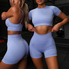 2021 Zomer Sport Set Vrouwen Blauw Twee 2 Stuk Crop Top T-shirt Sport Shorts Yoga Sportsuit Workout Actieve Outfit fitness Gym Sets