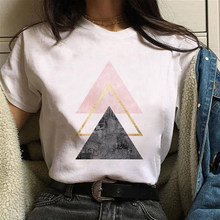 2021 Summer Women T-Shirt Geometric Printed T Shirts Casual Tops Tee Harajuku Plus Size Vintage White Shirt Female Short Sleeve