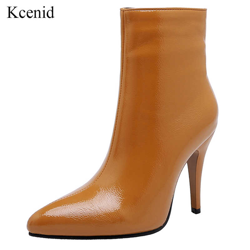 Kcenid 2020 ใหม่สิทธิบัตรหนังผู้หญิงรองเท้าเซ็กซี่ pointed toe รองเท้าส้นสูงรองเท้าซิปรองเท้า winter boots ผู้หญิง