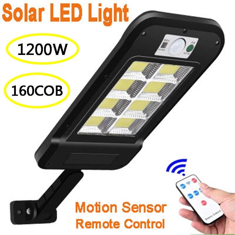 Farola LED Solar impermeable con Sensor de movimiento PIR, lámpara inteligente de Control remoto de 160 W, luz de pared de seguridad para jardín al aire libre, 1200 COB