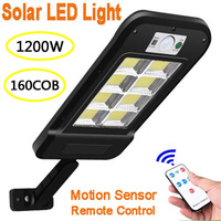 160 COB Solar Led-straßenleuchte Wasserdicht PIR Motion Sensor Smart Fernbedienung Lampe 1200W Outdoor Garten Sicherheit Wand licht