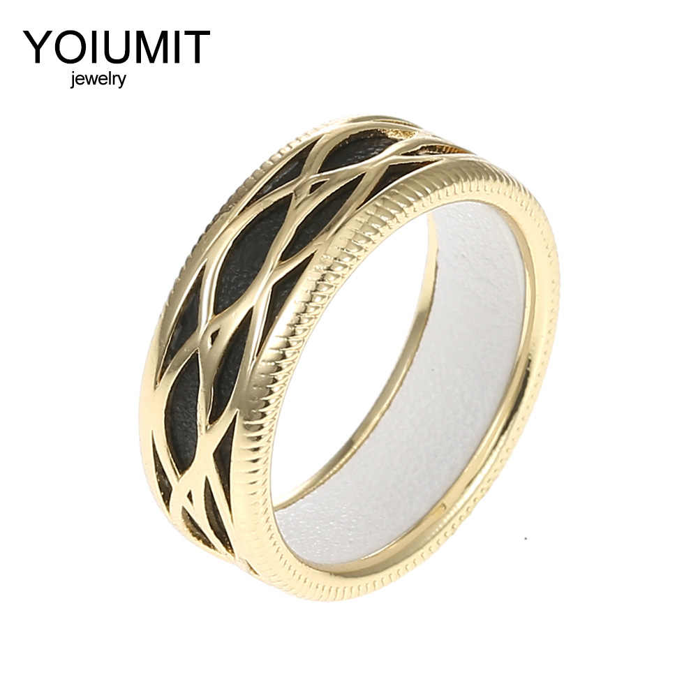 Cremo Fashion Rings Women Interchangeable Cuir Hollow Leather Ring Elegant Bijoux Femme Georgettes Rings Argent Cocktail Bague
