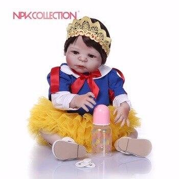 NPK 57CM Snow White Full Body Silicone Girl Reborn Babies Doll Toys Princess Babies Doll Wig Hair Birthday Gift Xmas gift