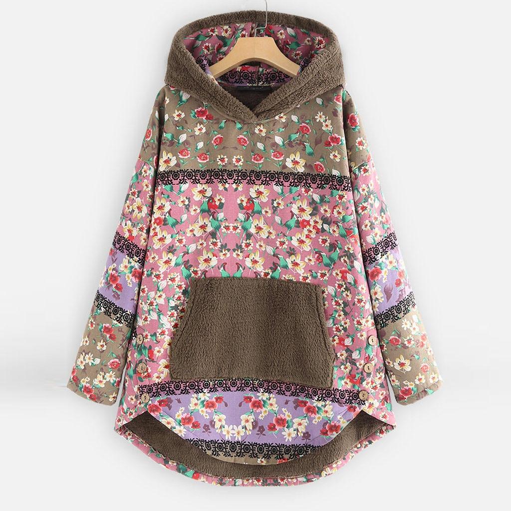 H5ce92b2704814c35bb2bec102f3a60b8Y Female Jacket Plush Coat Womens Windbreaker Winter Warm Outwear Retro Print Hooded Pockets Vintage Oversize Coats Plus Size 5XL