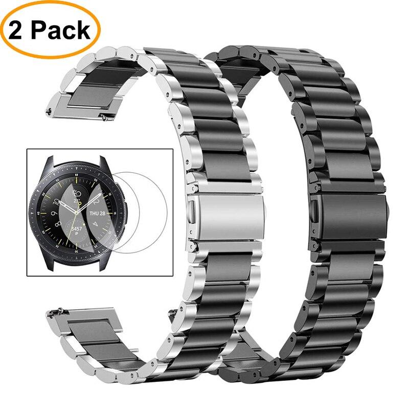 Saatler'ten Saat kayışları'de Huawei saat gt kayışı samsung galaxy saat kayışı 46mm aktif S3 Frontier/klasik watchband metal bilezik kemer + film + aracı title=