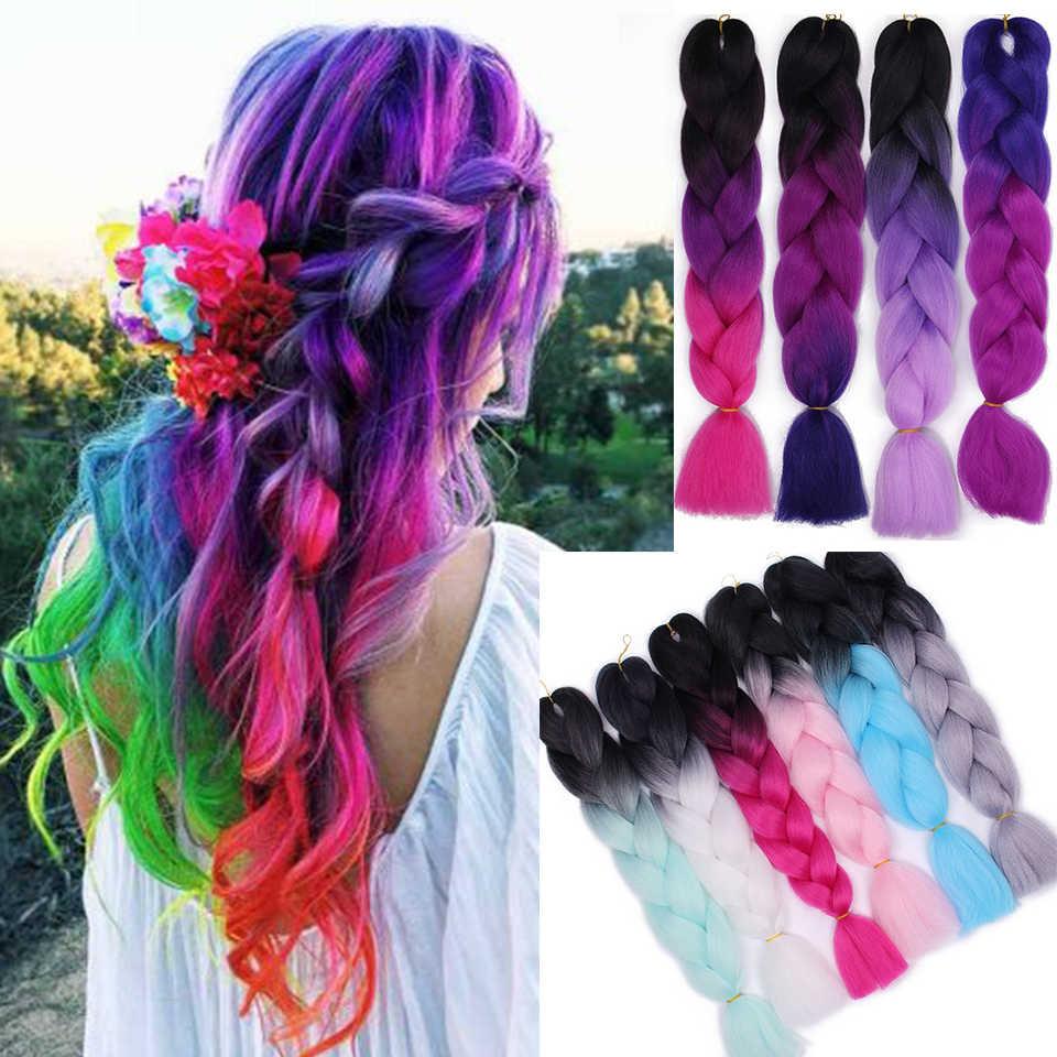 Aisi волосы 24 дюйма огромные косички длинные Омбре огромные синтетические косички волосы для женщин вязанные крючком блонд розовые волосы для наращивания Kanekalo