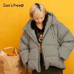 SAM'S BOOM Golden Effen Rechte Lijn Hoodies Warmness Down Jas Vrouwen 2019 Winter Plaid Losse Casual Office Dames Outwears