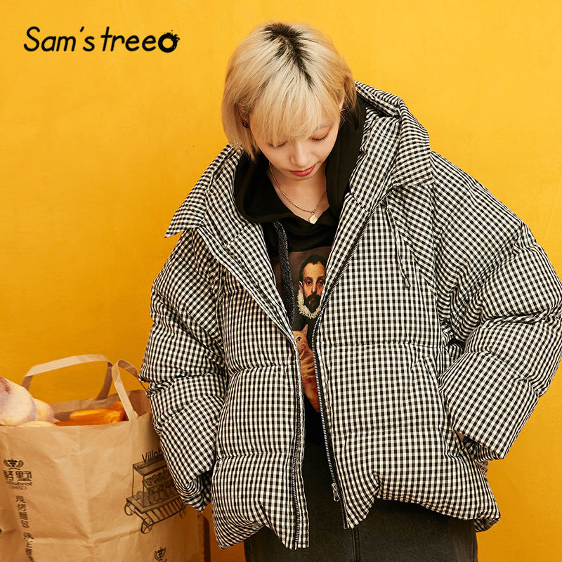 SAM'S TREE Golden Solid Straight Line Hoodies Warmness Down Coat Women 2019 Winter Plaid Loose Casual Office Ladies Outwears