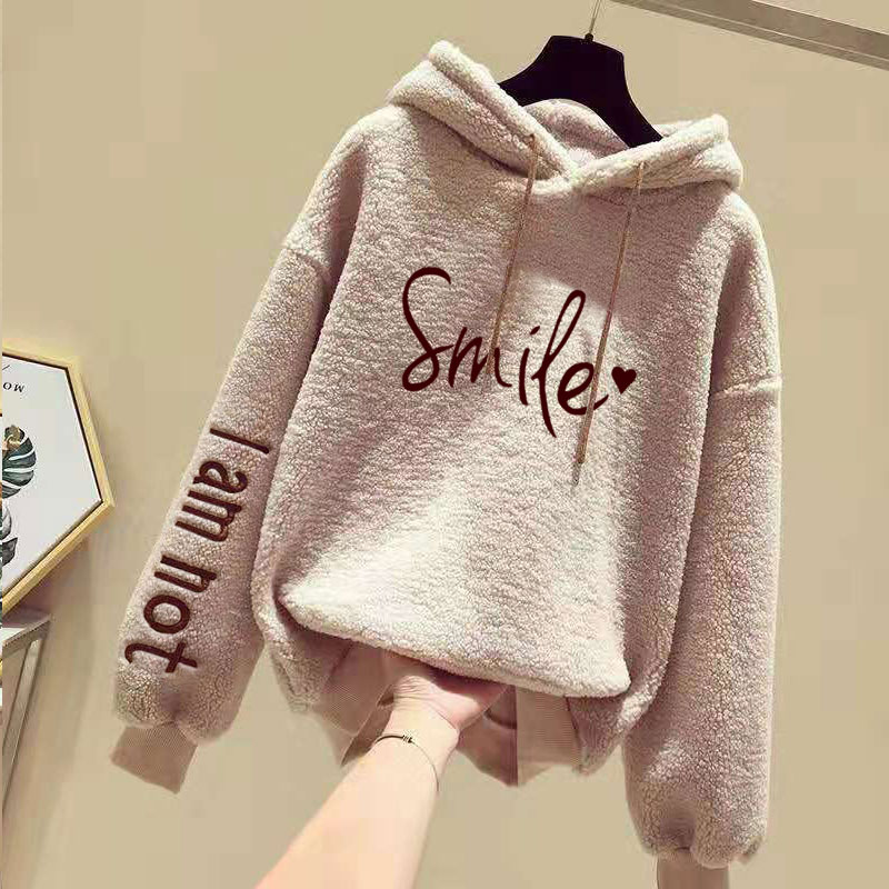 2020 Plush Thickened Hooded Wear Women's Korean Edition Student's Big Size Imitation Lamb