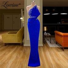 Royal Blue Simple Sexy Sleeveless Evening Dresses 2020 Chiffon Formal Dress Mermaid Party Gown Saudi Arabic Robe De Soiree Prom