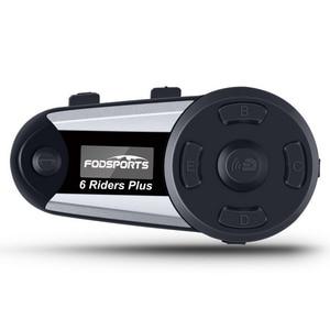 Image 1 - Fodsports V6 Plus Motorcycle Helmet Intercom Wireless Bluetooth Headset LED Screen FM Radio Full Duplex Intercomunicador