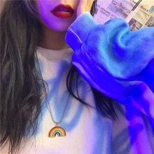 Japan and South Korea Harajuku Childrens Rainbow Pendant Stainless Steel Bead Chain Hip Hop Retro Cool Girl Disco Necklace