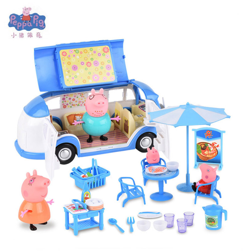 Peppa Pig little girl George toy car dining spring tour action picture original anime childrens toys family party pink pig