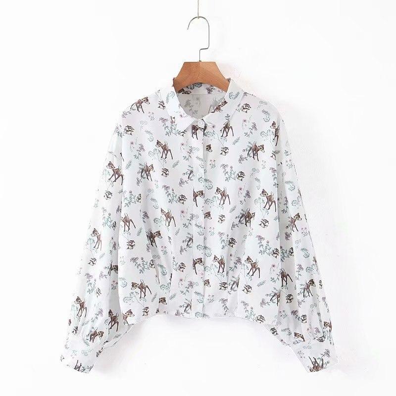 Women Short Blouse Long Sleeve Shirt Autumn 2019 New Fashion Cute Animal Prints Pattern Modern Girl Casual Loose Tops