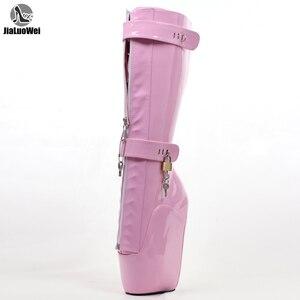 Image 1 - Jialuowei Frauen Sexy Stiefel 18 cm Hohe Keil Ferse Heelless Sohle Abschließbare vorhängeschlösser Knie Hohe Ballett Stiefel Unisex schuhe