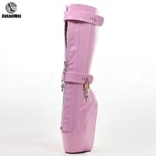 Jialuowei Vrouwen Sexy Laarzen 18 cm Hoge Sleehak Heelless Zool Afsluitbare Rits hangsloten Kniehoge Ballet Laarzen Unisex schoenen