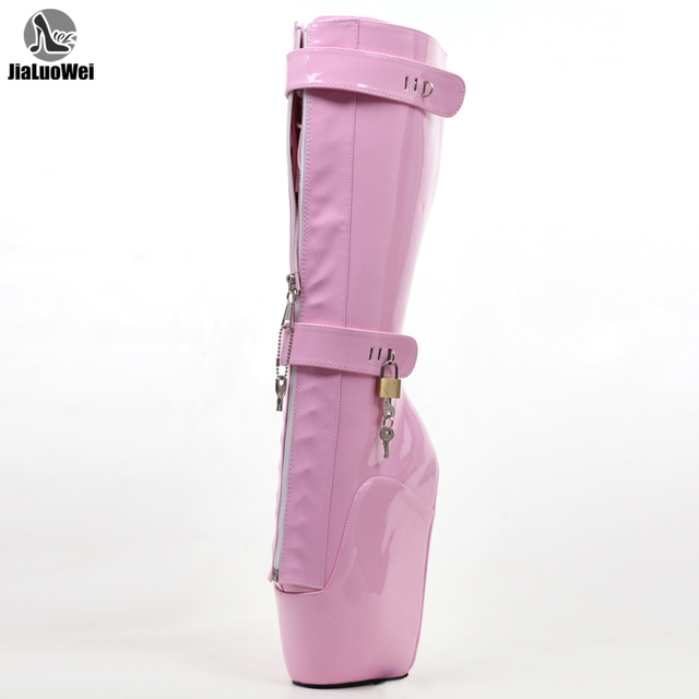jialuowei Women Sexy Boots 18cm High Wedge Heel Heelless Sole Lockable Zipper padlocks Knee High Ballet Boots Unisex Shoes