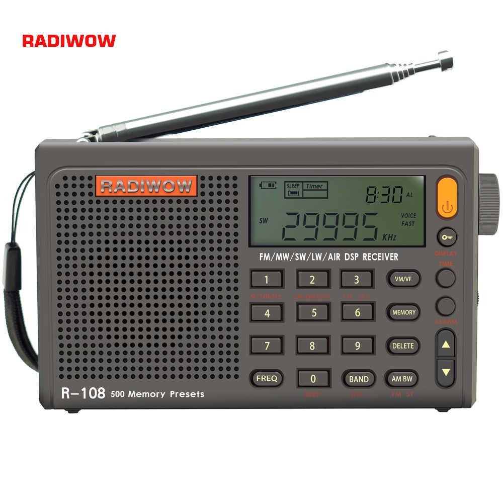 Radiwow R-108 FM Stereo Kỹ Thuật Số Cầm Tay Âm Thanh Báo Động Chức Năng Đồng Hồ Hiển Thị Nhiệt Độ Loa Có Thể Như Ty Mẹ/Người Bạn Tặng