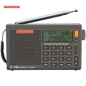 Radiwow SIHUADON R-108 FM Stereo Digital Portable Radio Sound Alarm Function Display Clock Temperature Speaker as Parent gift