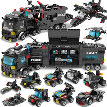 750pcs City Police Station Car Building Blocks For City SWAT Team Truck House Blocks Technic Toy For Boys Children Building toys