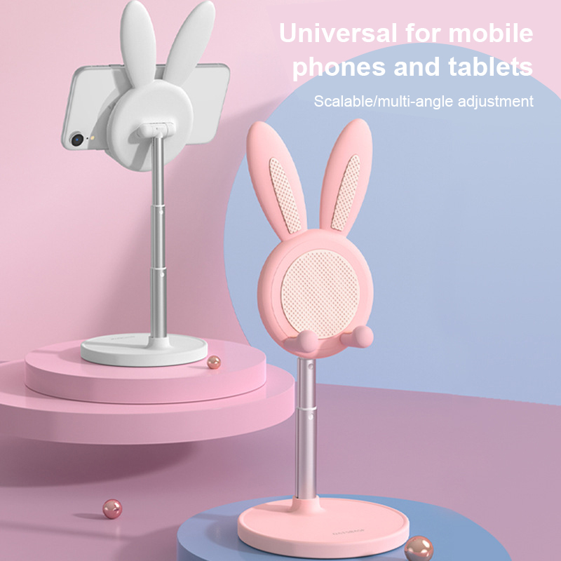 Cute Bunny Phone Metal Holder Desktop Cell Phone Stand Height Angle Adjustable For iPhone iPad Tablet Foldable Extend Support