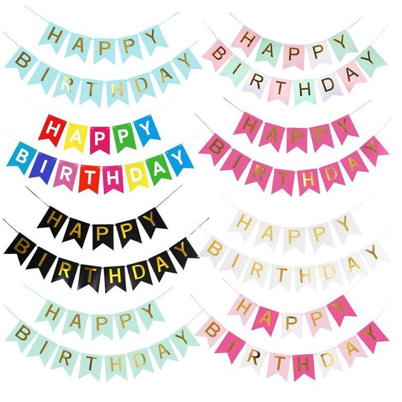 Festa de aniversário banner papel bunting guirlanda banners feliz aniversário decoração do bebê menino menina suprimentos de festa ouro rosa prata suprimentos