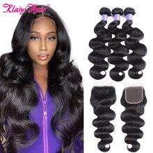 KLAIYI волосы бразильские волнистые с закрытием 4 шт волосы Remy плетение пряди с закрытием 100% человеческие волосы 3 пряди с закрытием