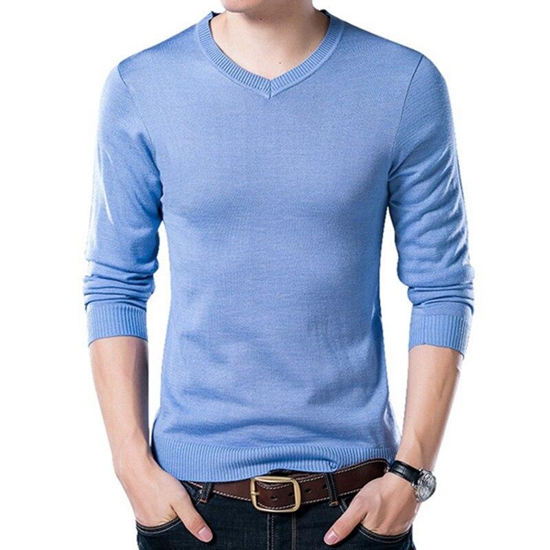 PUI men TIUA осенний Повседневный однотонный базовый Мужской свитер с v-образным вырезом тонкий мужской пуловер вязаный свитер с длинным рукавом мужской свитер размера плюс - Цвет: Sky Blue
