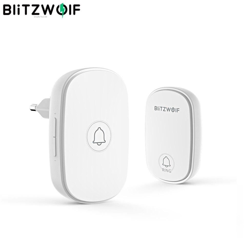 Blitzwolf Wireless Doorbell Ringtones Adjustable BW-DB1 Self-Power Rf433mhz 38 4-Volume
