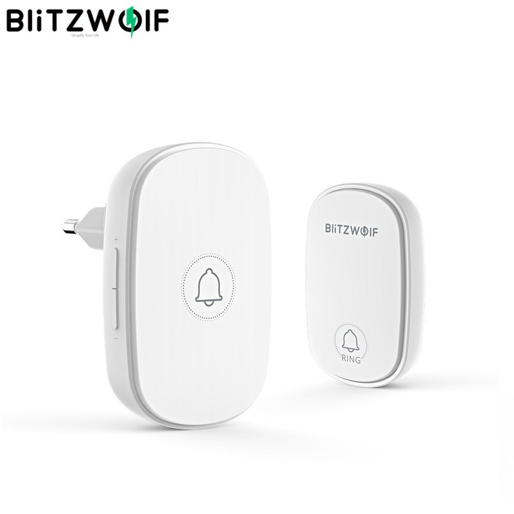 BlitzWolf BW-DB1 RF433Mhz Self-Power Wireless Doorbell EU Plug 38 Ringtones 4 Volume Levels Adjustable Bell Doorbell Receiver