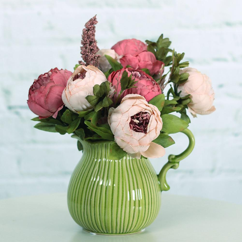 1Pc Vintage Vivid Non-fading Artificial Fake Peony Flowers Wedding Home Office Shop Decoration (Not Included the Vase)
