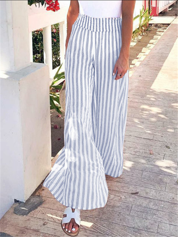 2019 Hot Selling Europe And America WOMEN'S Dress Playing Football With Waist Of Trousers Stripes Loose-Fit Loose Pants Sub-
