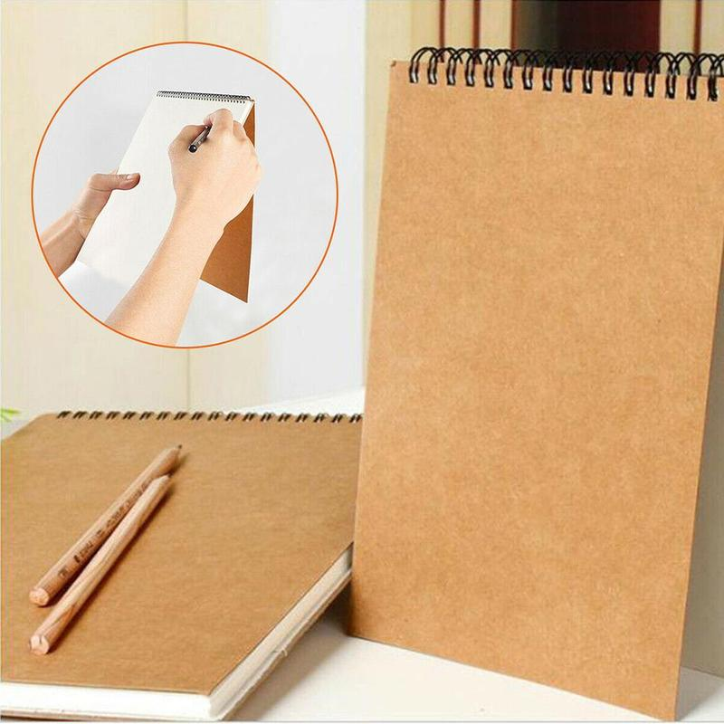 Retro Sketch Paper Coil Mounted 30 Sheets Sketch Notebook For Drawing Painting School Supplies Professional Stationery