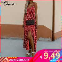 Celmia 2020 novo longo dividir vestidos das mulheres correias sem mangas verão vestido de polka dot impresso maxi vestido casual feminino robe 5xl