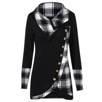 Plus Size Fashion Turtleneck Tunic Blouse Casual Winter Ladies Plaid Bottom Tops Female Women Long Sleeve Shirt Blusas Pullover turtleneck falbala patchwork plaid blouse