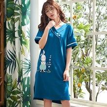 Summer Cotton Nightgowns Women Casual Soft Sleepwear Dress letter Slip Nightdress Nightwear Female Nighties