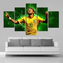 5 Pieces Paintings Brazil Football Stars Neymar Posters Wall Canvas Sports Fans Wall Art Posters Kids Room Home Decor Framework цена