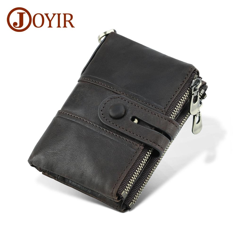 JOYIR Genuine Leather Rfid Wallet Men Crazy Horse Wallets Coin Purse Short Male Money Bag Portomonee Male Card Holder Wallet