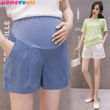 Summer Cotton Maternity Belly Short Pants Pregnant Women Shorts Pregnancy Short Trousers Adjustable Belly Clothes Korean Style cheap Spandex CN(Origin) Solid Natural Color Loose 6052 JERSEY Elastic Waist Casual