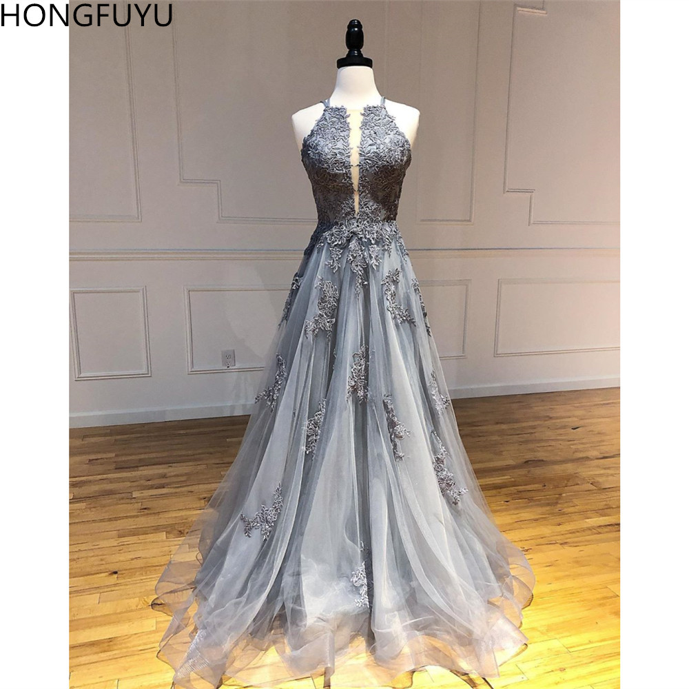 HONGFUYU Double Straps A Line Tulle Prom Dresses Backless Lace Appliques Evening Dresses Long O-neck Formal Vestidos Party Gowns