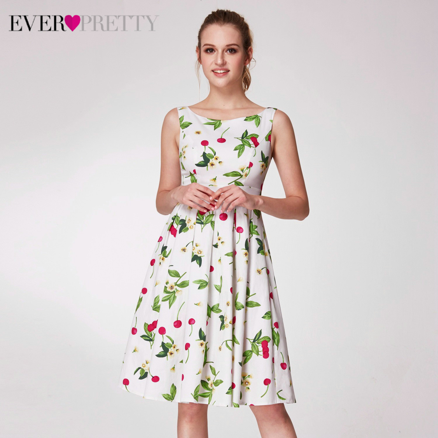 Elegant Floral Printed Homecoming Dresses Ever Pretty A-Line V-Neck Sleeveless Simple Graduation Dresses Vestido Festa Curto
