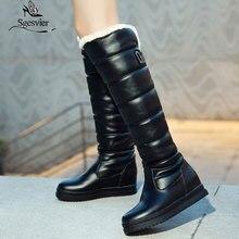 Sgesvier Russia winter boots women warm knee high round toe down fur ladies fashion thigh snow shoes waterproof bota