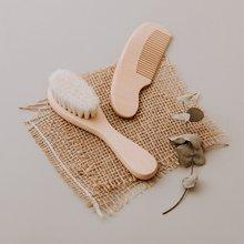 1pc de madeira escova do bebê cuidados com o bebê puro natural lã recém-nascido pente escova bpa livre de madeira logotipo personalizado bebê escova de cabelo infantil pente cabeça