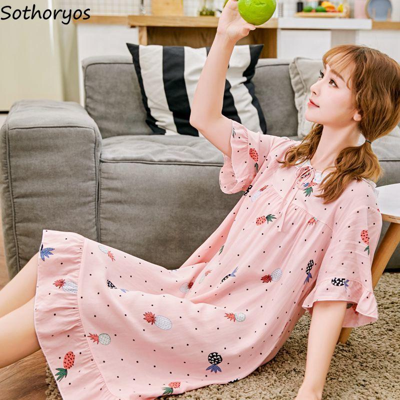 Nightgowns Women Summer 2020 Thin Kawaii Sweet Korean Style Womens Knee-Length Round Neck Printed Sleepwear Female Soft Chic