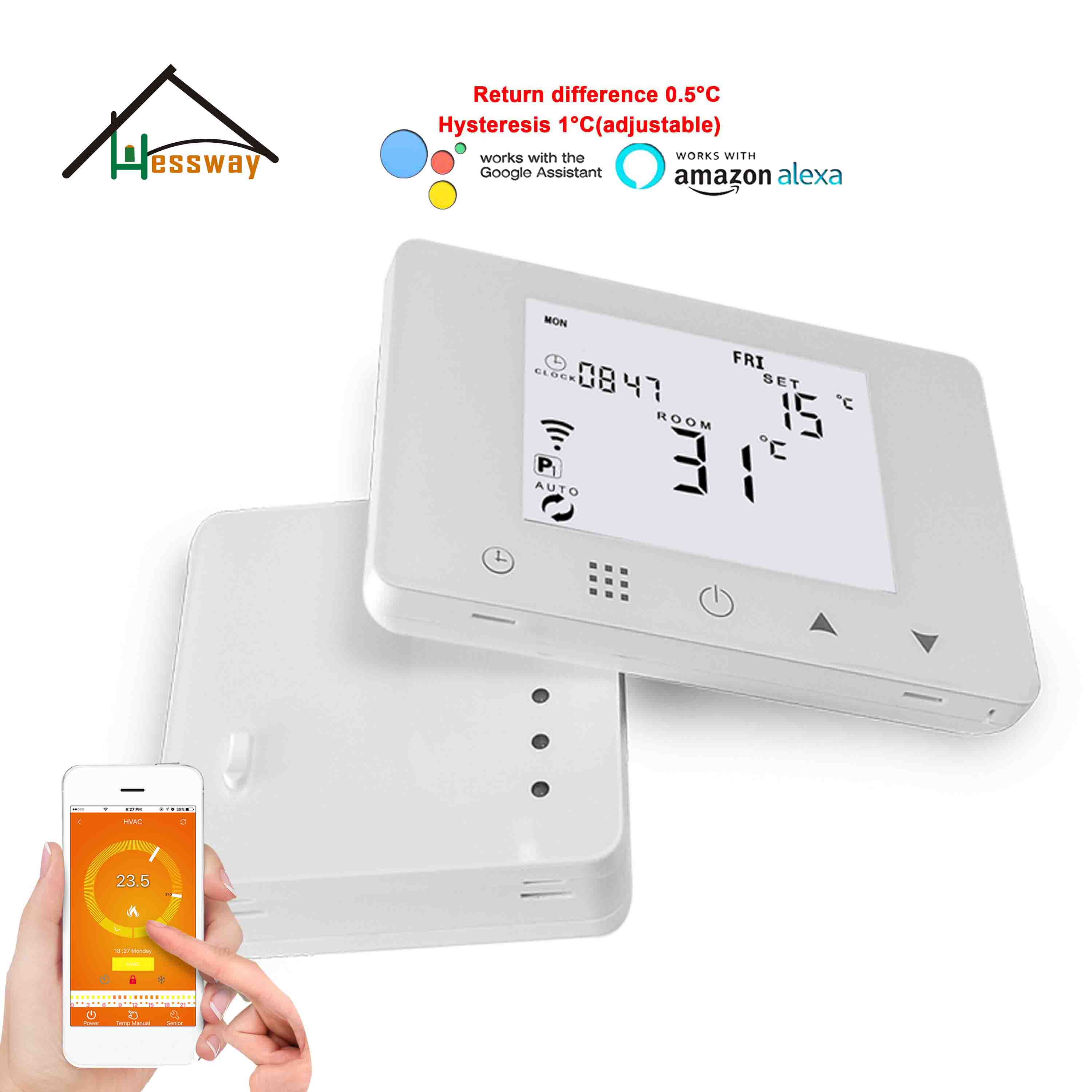 HESSWAY TUYA 433mhz Wifi & Rf Wireless Room Thermostat For Heating System Temperature Controller