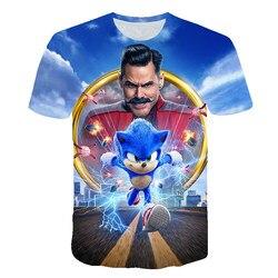 Ubrania dla dzieci lato z krótkim rękawem 3D Cartoon drukowane sonic jeż T Shirt dla chłopców Streetwear nastolatek chłopcy dzieci topy