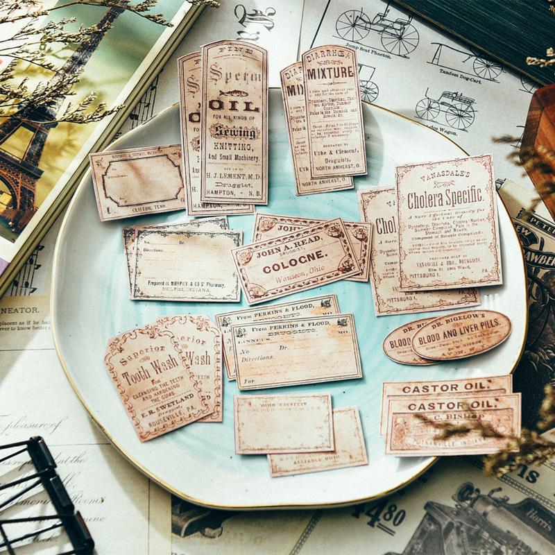 22Pcs/Pack Vintage English Ticket Label Tags Sticker DIY Craft Scrapbooking Album Junk Journal Planner Decorative Stickers