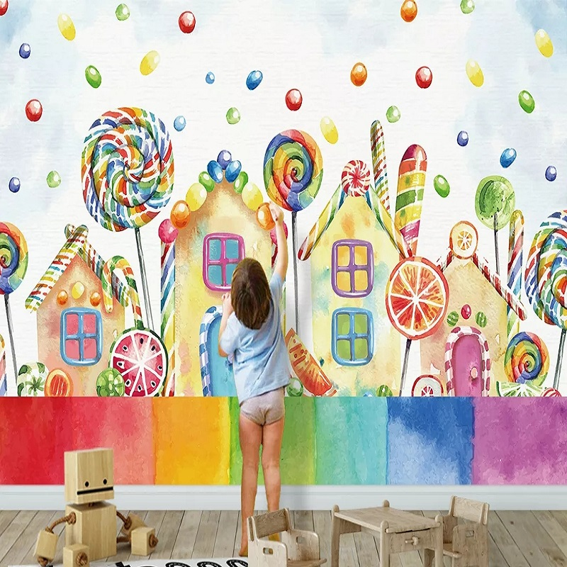 New Custom Large Mural 3D Wallpaper Cartoon Colored Donuts House Child Bedroom Mural TV Back Wall Decor Deep 5D Embossed