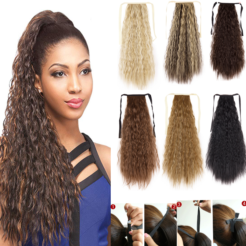 """22"""" Corn Wave Long Ponytail Hair Extensions Synthetic Hair Ponytail Extension Ribbon Binding Tie Up Clip In Ponytails Hairpiece"""