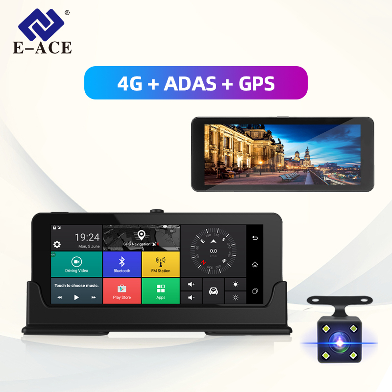 E-ACE E07 4G Dvr GPS Camera ADAS Android DVR Auto Register With GPS Navigation Full HD 1080P Video Recorder Two Cameras Vehicele image